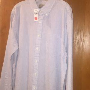 LLBean Navy and White Sears Sucker Shirt
